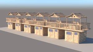 3D model cabana beach cabin