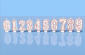 3D birthday candles numbers