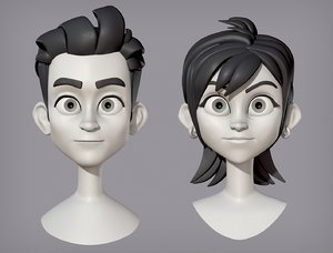 3D character head female male model