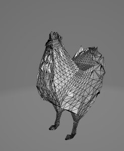 3D model rooster chicken animal