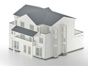 3D model modern three-storey cottage