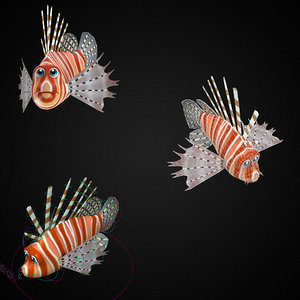 3D model lion fish toon animation