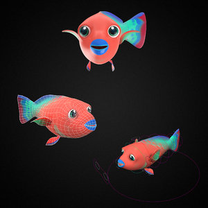 3D parrot fish toon animation model