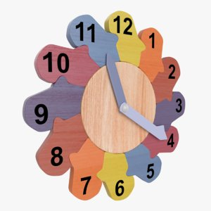 kids wooden wall clock 3D model