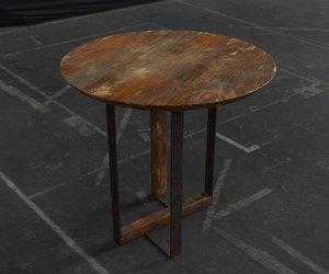 3D model old dirty desk abandoned
