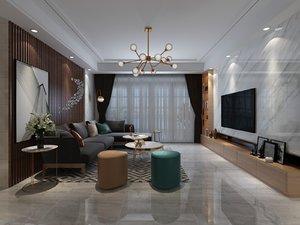 interior scene living dining room 3D model