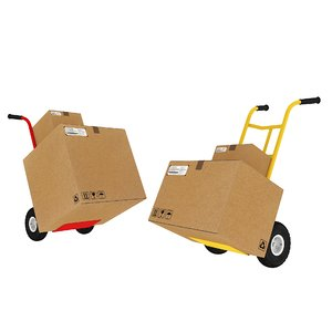 hand truck shipping corrugated 3D model