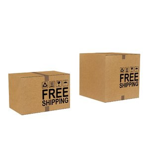 3D realistic corrugated boxes shipping