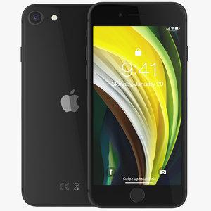 iphone se 2020 black 3D model