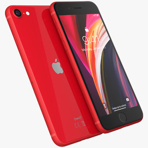 3D model iphone se 2020 red