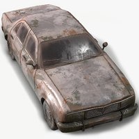 Old Car 1 Wrecked PBR Game Ready