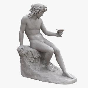 3D bacchus bowl statue