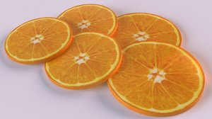 3D model citrus orange fruit slices