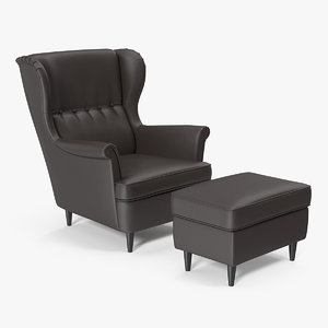 leather strandmon wing chair 3D