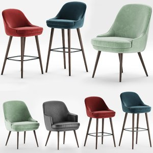 3D walter knoll 375 dining chair model