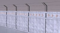 Barbed Wire Concrete Fence military section