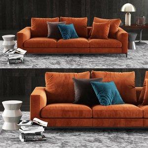 minotti andersen sofa coffee table 3D model