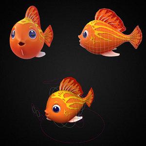 red lyretall molly fish toon 3D