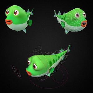 striped bass fish toon 3D model