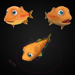 3D rainbow trout fish toon model