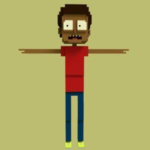 3D pixel boy