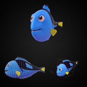 3D blue tang fish toon