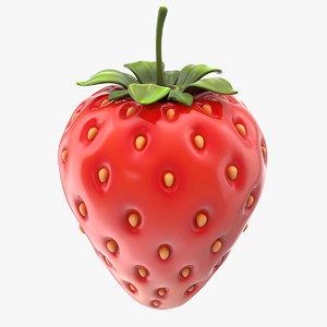 cartoon strawberry berry raw 3D model