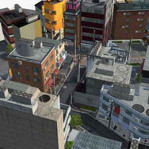 3D model japanese residential street 0002