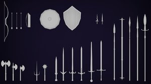 pack weapons medieval 3D