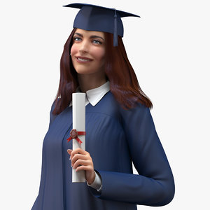 3D female graduate student rigged woman