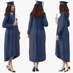 female graduate student rigged woman 3D model