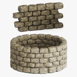 seamless stone wall unit 3D