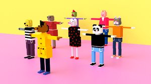 cartoon animals pack 3D model