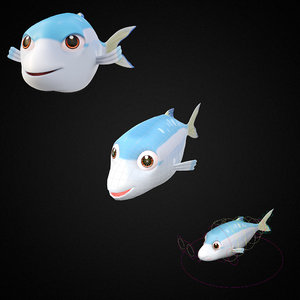 goldstripe sardinella fish toon 3D model