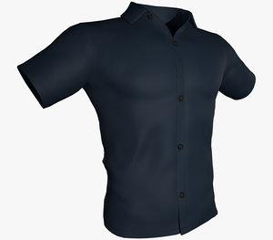 blue summer shirt 3D model