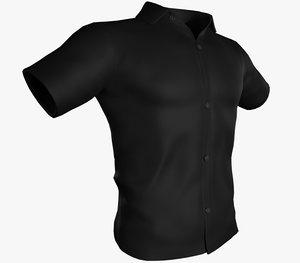 3D black summer shirt