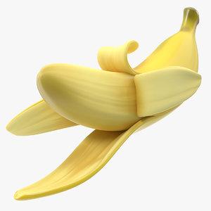fresh peeled banana cartoon model
