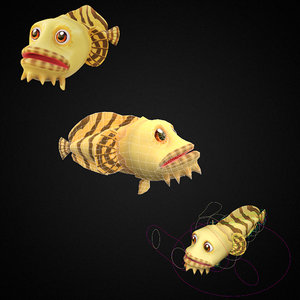 3D oyster toadfish toon fish