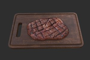 3D grilled steak board