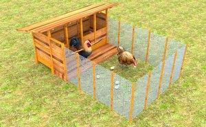 3D model chicken coop