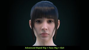female character rig head face 3D model