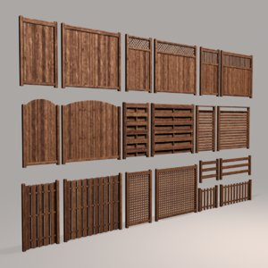 modular fences wood 3D model