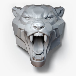 3D roaring leopard sculpture model