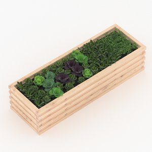 3D model wooden flowerbed box set