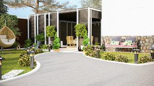 3D garden house design corona