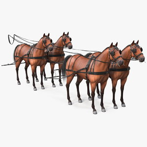team harness fur rigged horse 3D model