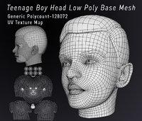 Teenage Head Low Poly Base Mesh