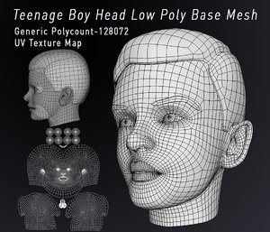 3D model teenagers head