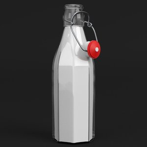 3D milk bottle bracket closure model