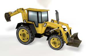 3D cartoon digger tractor